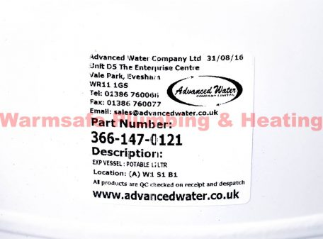 Advanced Water 366-147-0121 potable expansion vessel 12ltr
