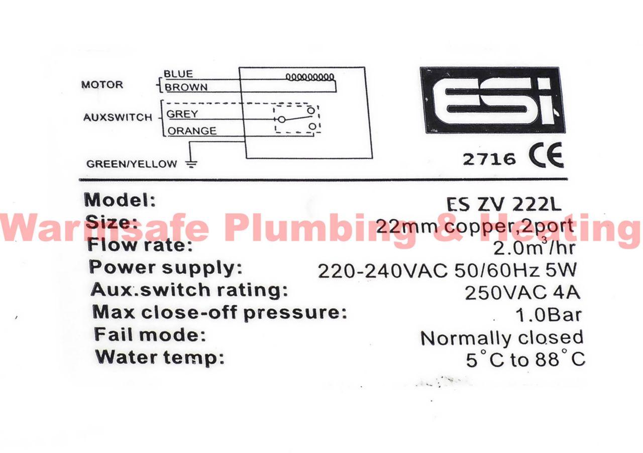 ESI 22MM 2 PORT MOTORISED VALVE CENTRAL HEATING CONTROL SPARE 5 WIRE ESZV222L
