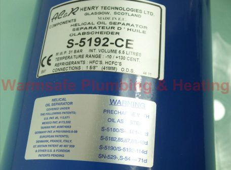 AC&R Henry Technologies S-5192-CE Helical oil Seperator