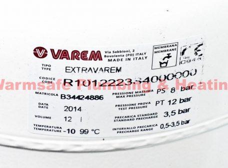 Varem R1012223S4000000 Expansion Vessel 12Ltr