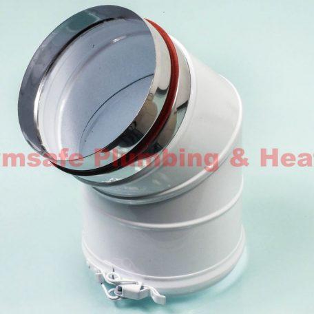 Grant WE45/125 45deg elbow extension (for 46-70KW boilers) 125mm White