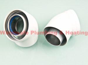 baxi 241689 45deg flue elbow 70/110 (pair) 1