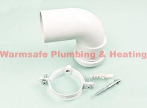 vaillant 303949 90 degree plume elbow for variable termination kit - white 1